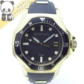 【中古】【美品】ジバンシー メンズ腕時計 シャークウォッチ クオーツ GP/ラバー ブラック文字盤 GY100141