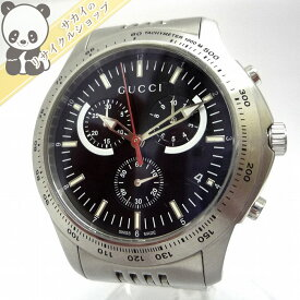 ea2facacb14  中古 GUCCI Gタイムレス クロノグラフ メンズ腕時計 クオーツ 文字盤ブラック SS 126.2