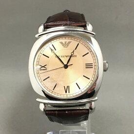 【中古】エンポリオアルマーニ メンズ腕時計 AR-0264 クオーツ SS レザー ベージュ文字盤 ブラウン[jggW]