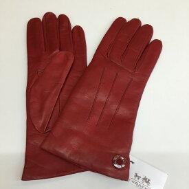 【中古】コーチ グローブ 手袋 レザー レッド F83726 表記サイズ 7 1/2[jggZ]