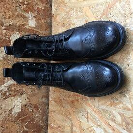 【中古】ジェオックス メンズ アンクルブーツ U2482X レザー ブラック 表記サイズ:EU41(約25.5cm)[jgg]