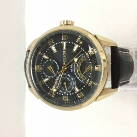 【中古】ポリス メンズ腕時計 14407J クオーツ SS/レザー ブラック[jggW]
