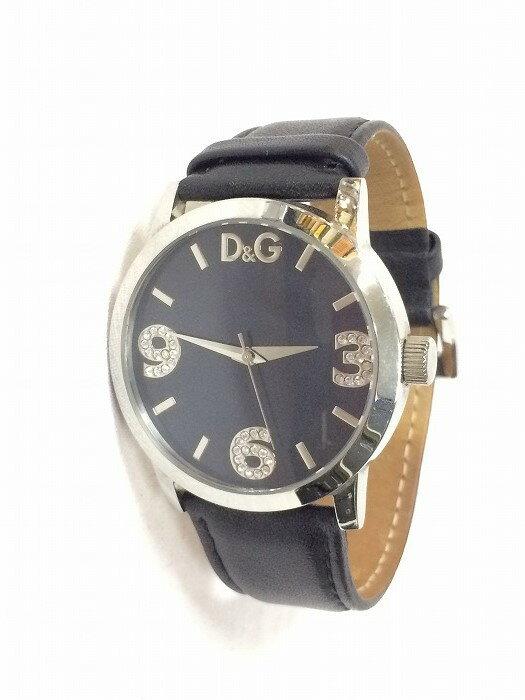 D&G ディーアンドジー メンズ腕時計 クオーツ SS×レザー ブラック【中古】[fu][jggI]