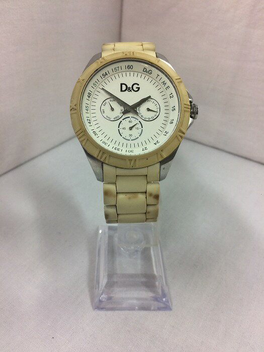 D&G ディーアンドジー ドルガバ メンズ腕時計 クオーツ SS×ラバー ホワイト【中古】[fu][jggW]
