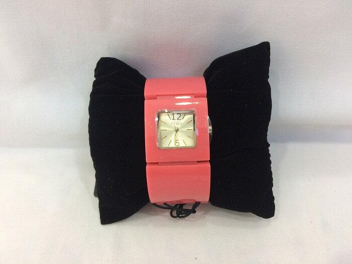 【中古】FURLA フルラ バングルウォッチ プラスチック レディース腕時計 ピンク 00762820 [jggW]
