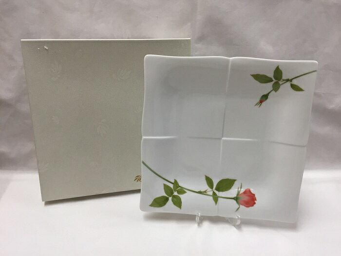 【中古】香蘭社 大皿 正方形 ノーブルローズ ホワイト バラ[jggG]