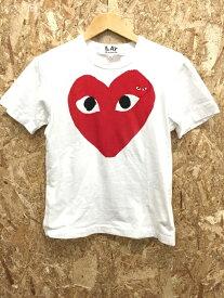 【中古】コムデギャルソンプレイ レディース Tシャツ ビッグハートプリント ホワイト/レッド 表記サイズS AZ-TO26[jggI]