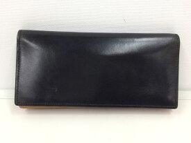 【中古】ココマイスター 二つ折り長財布 レザー ブラック[jggZ]