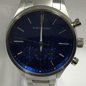 【中古】シチズン インディペンデント クラシック メンズ腕時計 SS/メタル クオーツ シルバー/ブルー BR3 113 71[jggW]