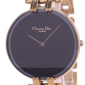 【中古】Christian Dior バギラ レディース腕時計 クォーツ GP ブラック文字盤 47.154-2