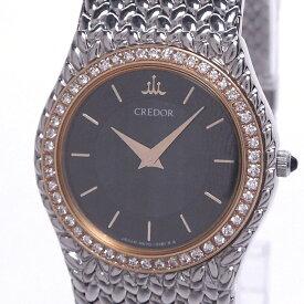 【中古】セイコー クレドール レディース腕時計 クォーツ SS 18KTダイヤベゼル グレー系サードニクス文字盤 4N70-0170