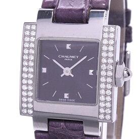 【中古】ショーメ スタイルカレ レディース腕時計 ダイヤベゼル クォーツ SS レザー パープル ブラック文字盤 W04214