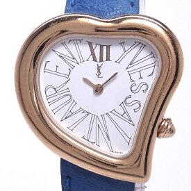 【中古】イヴサンローラン ハートモチーフ レディース腕時計 クォーツ GP 白文字盤 05F