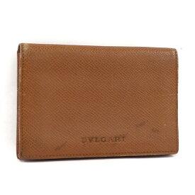 【中古】BVLGARI 名刺入れ カードケース グレインレザー ブラウン 20360