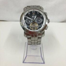 【中古】J.HARRISON ジョンハリソン メンズ腕時計 自動巻き ビッグデイト デイデイト スケルトン メンズ腕時計 SS ブラック文字盤 J.H-008C [jggW]