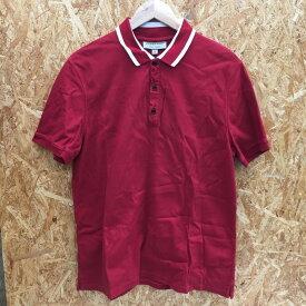 【中古】バーバリー メンズ 半袖 ポロシャツ 表記サイズ:XL コットン レッド [jggI]