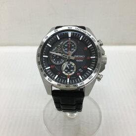 【中古】セイコー メンズ腕時計 クロノグラフ SS ラバー クオーツ ブラック文字盤 8T67-00H0 [jggW]