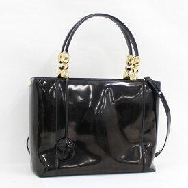 【中古】Christian Dior マリスパール 2WAY ハンドバッグ エナメルレザー ブラック