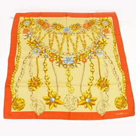 【中古】CELINE スカーフ チェーン/フラワー オレンジ/イエロー シルク100%