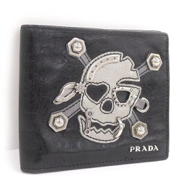 【中古】PRADA 二つ折り財布 スカルモチーフ レザー ブラック