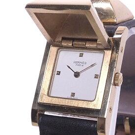 【中古】HERMES メドール レディース腕時計 クォーツ GP ホワイト文字盤 刻印○W ME1 201