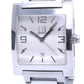 【中古】dunhill ファセット メンズ腕時計 デイト クォーツ SS オフホワイト文字盤 8031