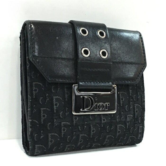 【中古】 Christian Dior 二つ折りWホック財布 ディオリッシモ トロッター ブラック キャンバス