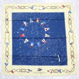 【中古】 LOUIS VUITTON 大判スカーフ アメリカズカップ記念 ブルー系 海図モチーフ シルク100%
