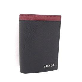 【中古】PRADA カードケース ブラック/レッド サフィアーノレザー 2MC945