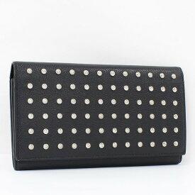 【中古】サンローラン 二つ折り長財布 スタッズ レザー ブラック 358572