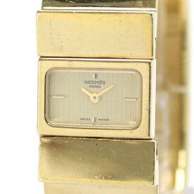 【中古】HERMES ロケ バングルウォッチ レディース腕時計 クオーツ ゴールド文字盤 SS レザー ゴールド ダークグリーン L01.201
