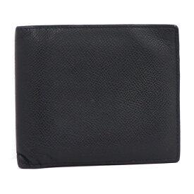 【中古】BVLGARI 二つ折り財布 レザー ブラック 20253