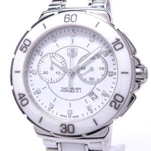 【中古】TAG Heuer フォーミュラ1 クロノグラフ 12Pダイヤ レディース腕時計 クォーツ SS/セラミック ホワイト文字盤 CAH1211.BA0863
