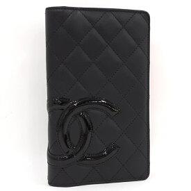 【中古】CHANEL 二つ折り 長財布 カンボンライン ラムスキン レザー ブラック ピンク A26717