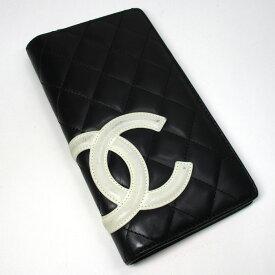 【中古】CHANEL 二つ折り 長財布 カンボンライン ラムスキン ブラック ホワイト A26717