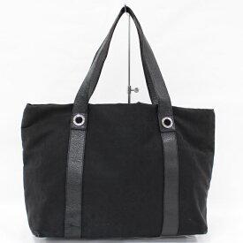 【中古】BVLGARI ロゴマニア トートバッグ キャンバス ブラック