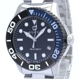 【中古】GUCCI ダイバー メンズ腕時計 クォーツ デイト SS ブラック文字盤 126.2 YA126281