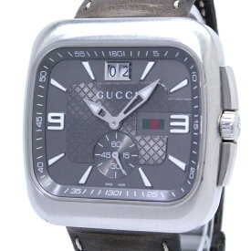 【中古】GUCCI Gクーペ メンズ腕時計 クォーツ デイト SS スモールセコンド ダークブラウン文字盤 131.3 YA131313