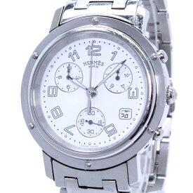 【中古】HERMES クリッパー クロノグラフ デイト メンズ腕時計 クォーツ SS ホワイト文字盤 CL1.910