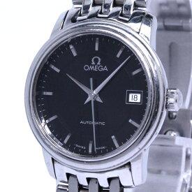 【中古】OMEGA クラシック レディース腕時計 自動巻き デイト SS ブラック文字盤