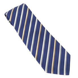 【中古】BVLGARI ネクタイ レジメンタル ブルー系 斜め ストライプ柄 シルク100%