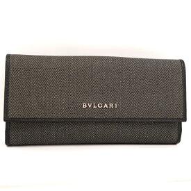 【中古】BVLGARI Wホック長財布 ウィークエンド PVC グレー 32589