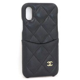 【中古】CHANEL iPhone X & XS クラシックケース iPhoneケース スマホケース レザー ブラック A83565