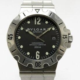 【中古】BVLGARI メンズ腕時計 ディアゴノ スクーバ 自動巻き SS ブラック文字盤 SD38S