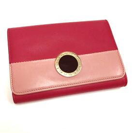【中古】BVLGARI 二つ折り Wホック財布 BVLGARIBVLGARI ロゴ レザー ピンク