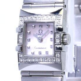 【中古】OMEGA コンステレーション カレ クアドラ ダイヤベゼル レディース腕時計 クォーツ SS ピンクシェル文字盤 1535.73.00