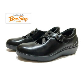 ボンステップ(Bon Step) 靴 レディース スリッポン 撥水加工付 2E 5676 クロ