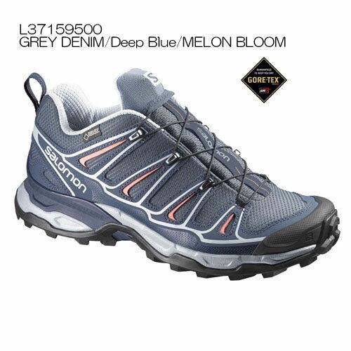 ◎サロモン L37159500・X ULTRA 2 GTX W/X ウルトラ2 ゴアテックスウイメンズ(GREY DENIM/Deep Blue/MELON BLOOM)【40%OFF】