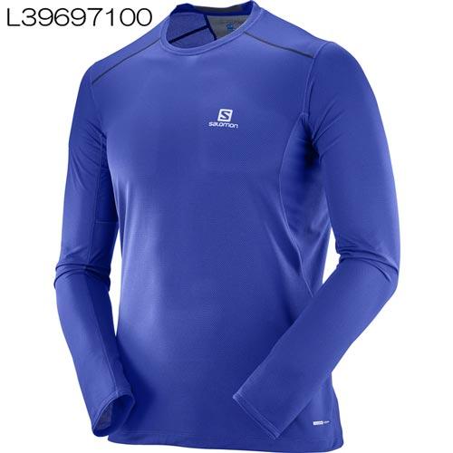 ◎サロモン L39697100・TRAIL RUNNER LS TEE M/トレイルランナー ロングスリーブT(Surf The Web/Dress Blue)【40%OFF】