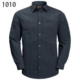現品特価(み)ジャックウルフスキン W1402821_1010・レイクサイドロールアップシャツ メンズ(ナイトブルー)【50%OFF】